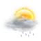 Cloudy intervals with light rain